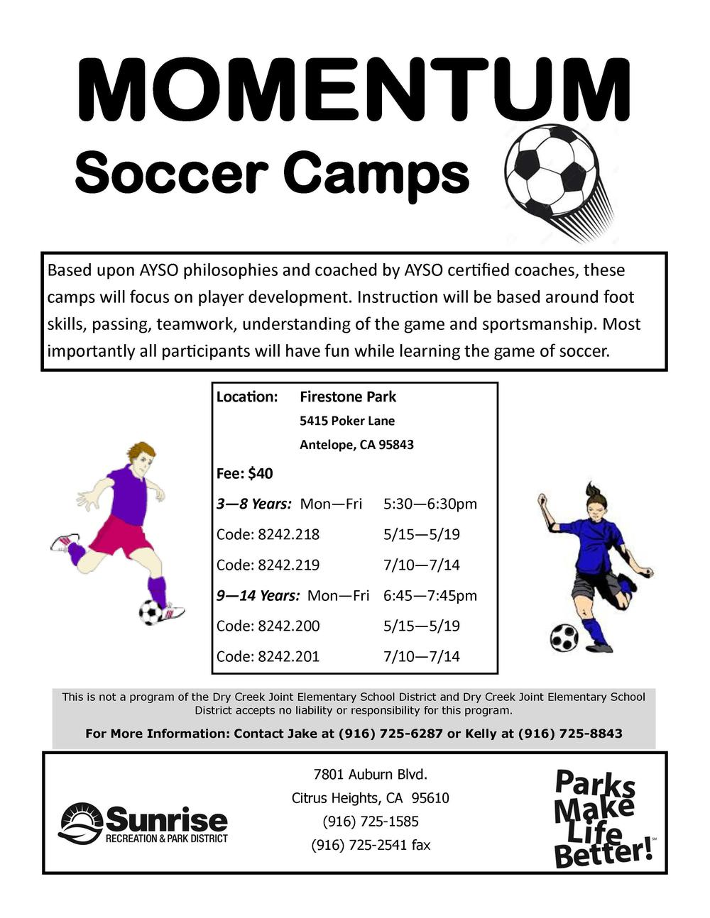 Sunrise Recreation and Park Momentum Soccer Camp Flyer