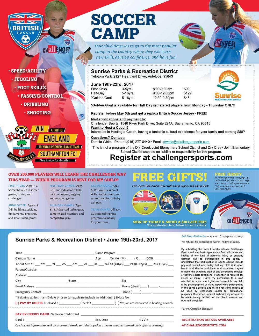 Sunrise Recreation and Park British Soccer Camp Flyer