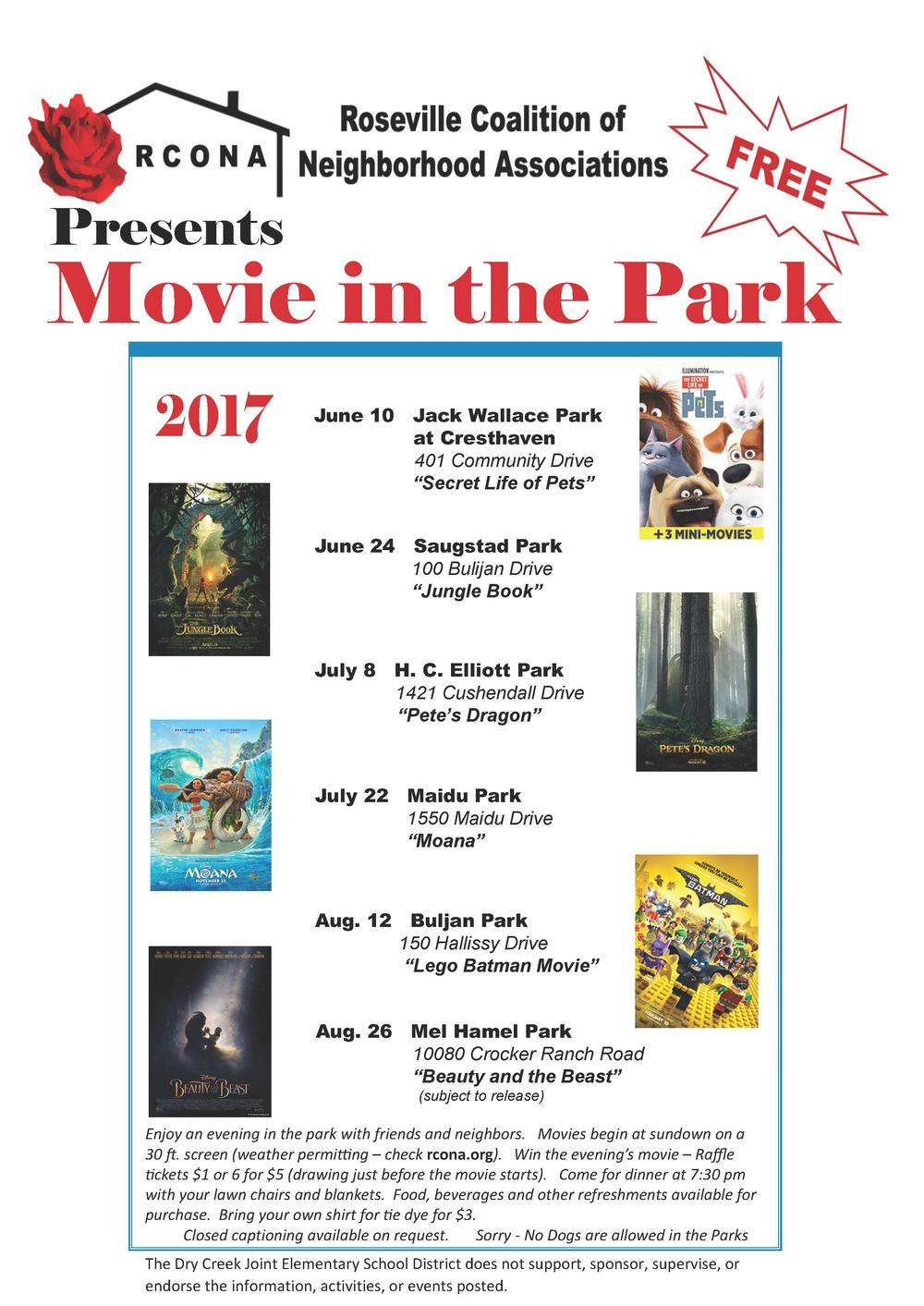 2017 Movie in the Park Flyer