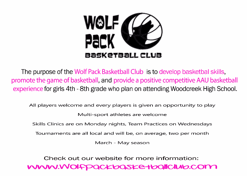 Flyer for Wolf Pack Basketball