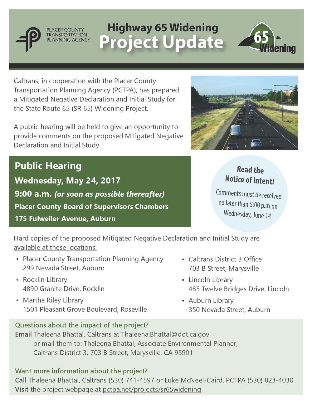 Highway 65 Widening Project Flyer