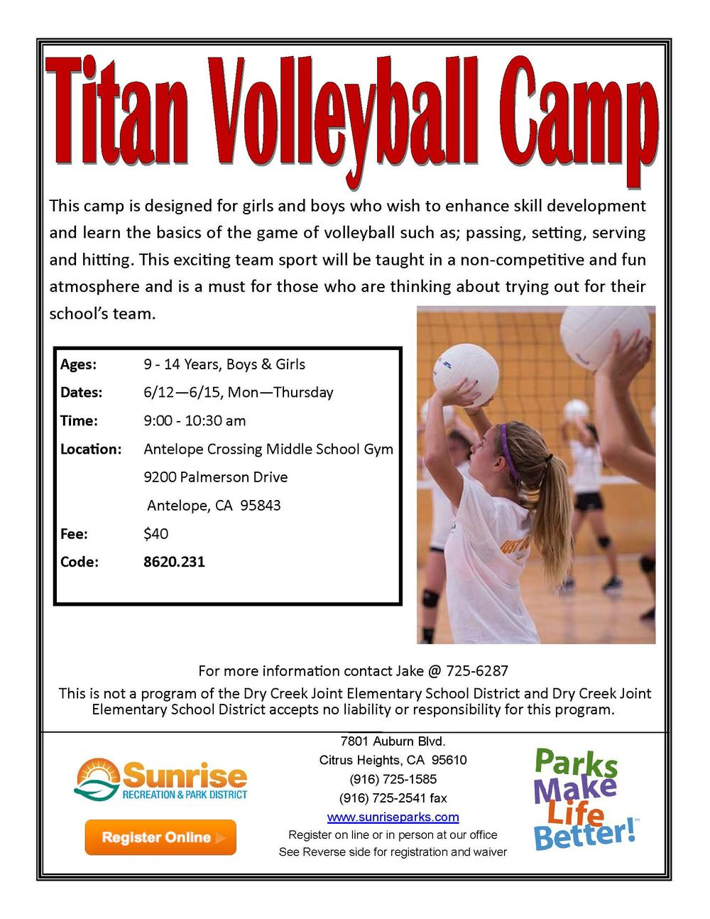 Sunrise Recreation and Park Titan Volleyball Camp Flyer