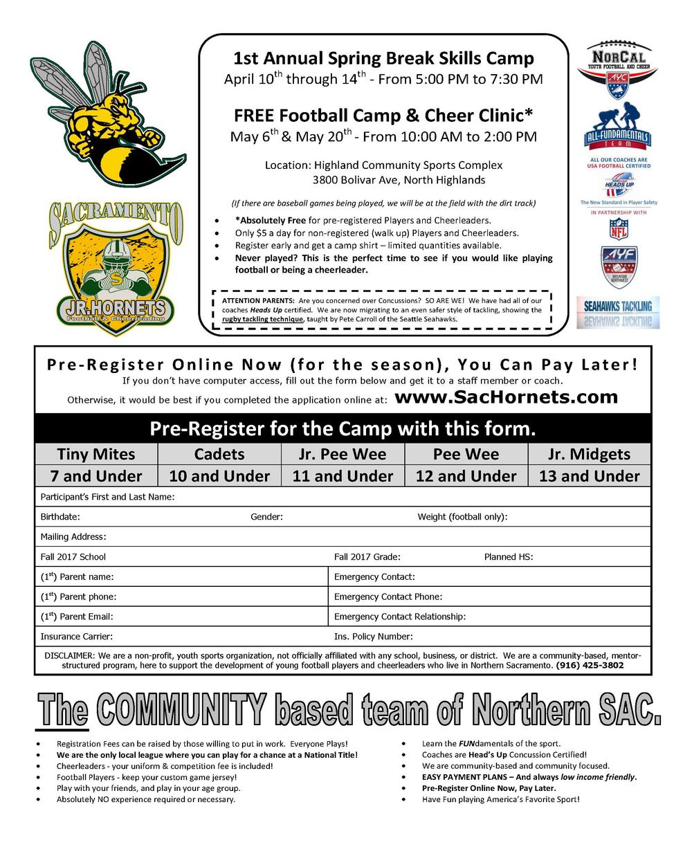 Free Sac Jr Hornets Football Camp and Cheer Clinic Flyer
