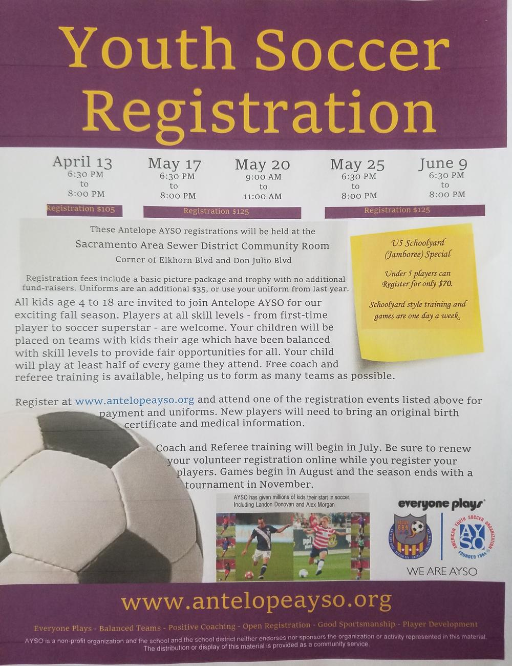 AYSO Youth Soccer Registration Flyer