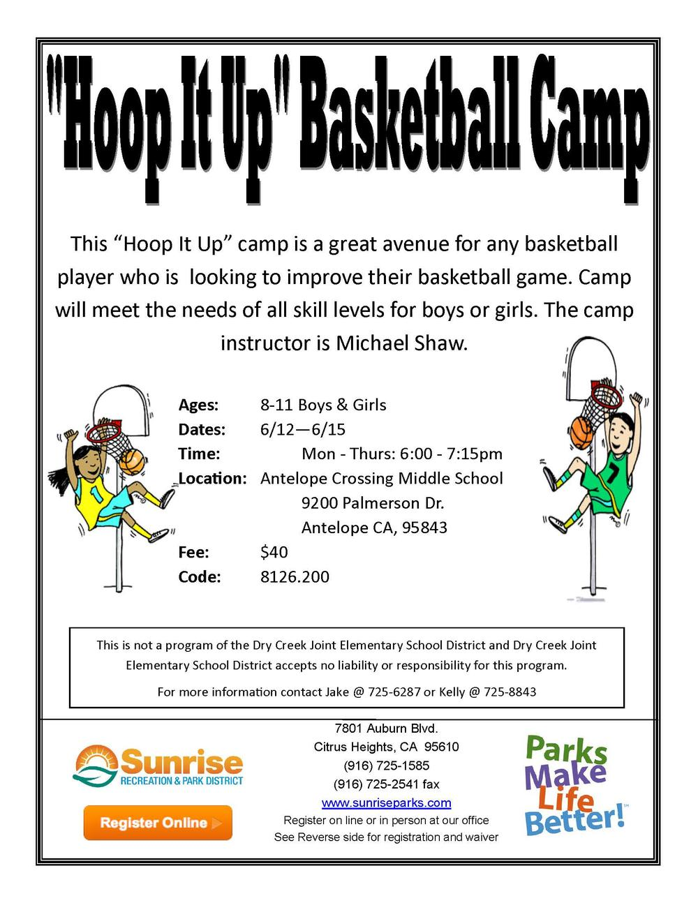 Sunrise Recreation and Park Hoop It Up Basketball Camp Flyer