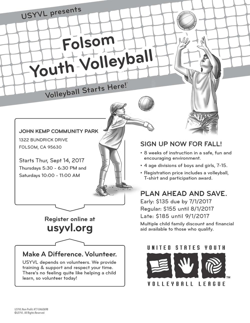 Folsom Youth Volleyball Flyer