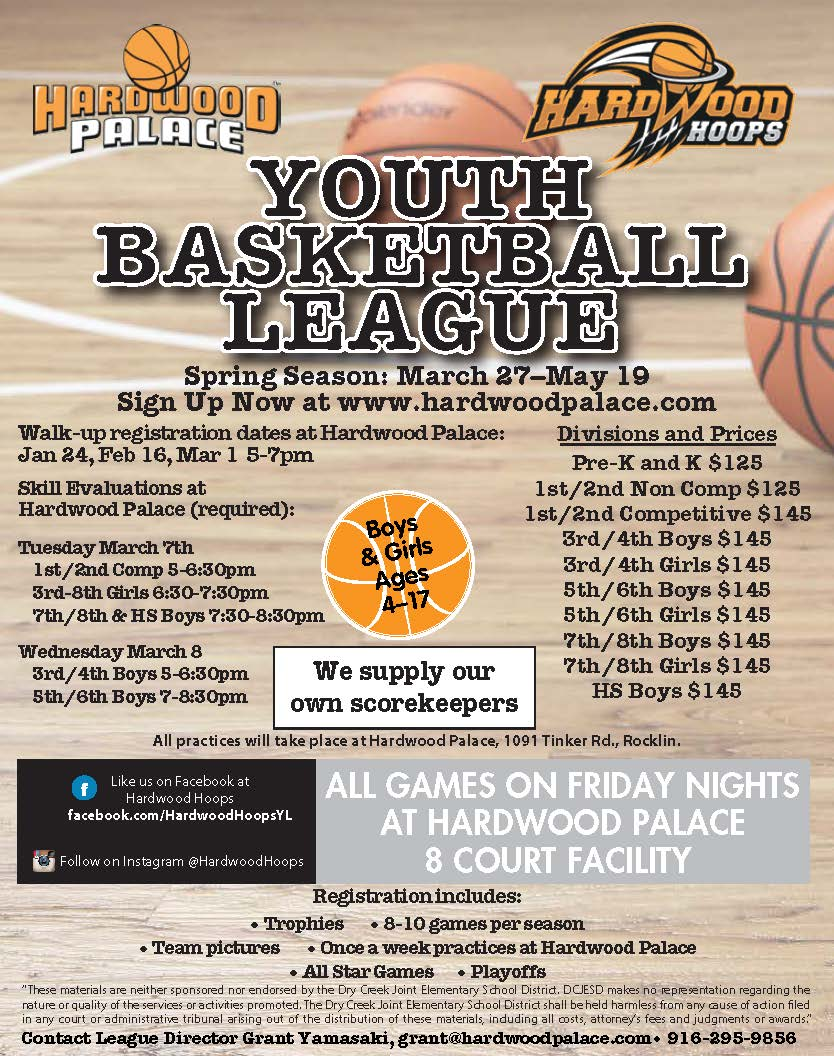 Hardwood Hoops Youth Basketball Spring Flyer